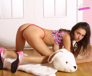 Teen hottie at hand large hooters upon slutty plaided skirt