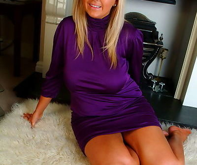 Adorable blonde with awesome curves takes her posh violet dress off