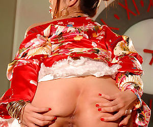 Shameless and sexy japanese cutie in red panties is fingering her hungry cave in the room