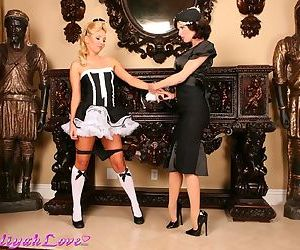 Busty babe uses strapon dildo to fuck her French maid in her naughty pussy