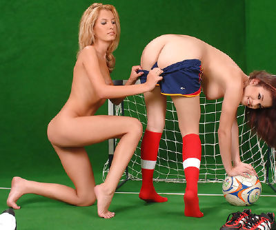 Sporty babe Virginee in red socks is demonstrating her shaved cunt to her hungry babe