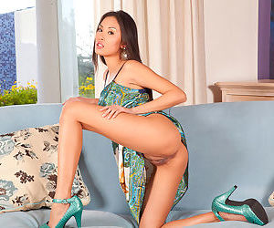 Smoking hot solo Asian in high heels teases with her fabulous pussy