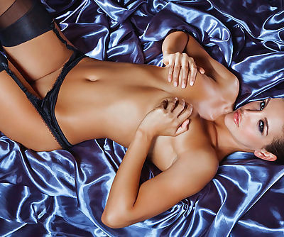 Charming sweetie gets off on chic bedclothes, flaunting her exciting lumps in expensive lingerie
