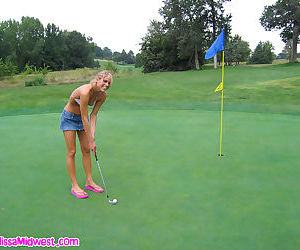 Golfing in a bikini and pleasuring her pussy on the course