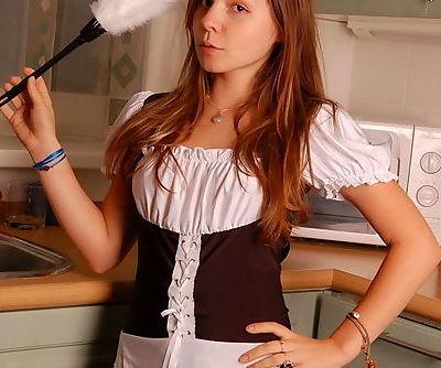 Pretty teen hottie in slutty maid uniform