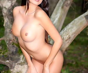 The shaved pussy on the Asian girl looks good outdoors in natural light