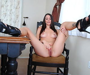 Lean long legged girl eager to masturbate her shaved box