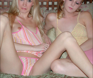 Dissipated teen chicks hugging together with kissing surrounding the bed