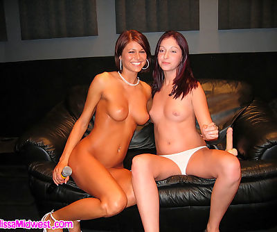 Sexy naked babes in the radio studio showing their hot bodies