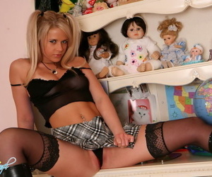 Frolicsome teen neonate on every side black lingerie coupled with mini skirt