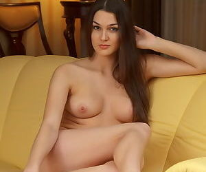 Girl in lingerie seduces you with her eyes and her naked tits and pussy