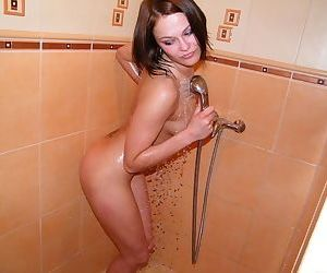 She has sexy wet tits and a naked pussy in the warm and sultry sauna