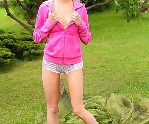 The teen in the pretty lace boyshort panties opens wide to show her pussy