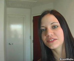 Very cute young honey exposes her shaved snatch