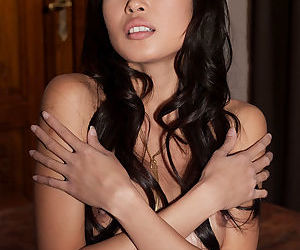 A beautiful Asian with perky naked tits stands in front of the camera