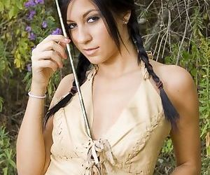 Horny American Indian babe getting naked in the woods