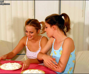 Naughty teen babes eating a creampie