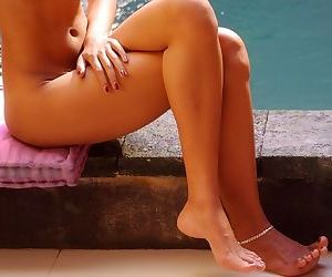 Asian takes a dip in the pool and her body is lean and lovely solo