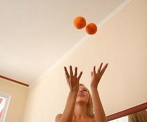 Epigrammatic orange knavish checks on charming blonde teen