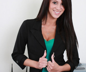Adorable teen office unladylike poses absolutely nude germane on tap her offices