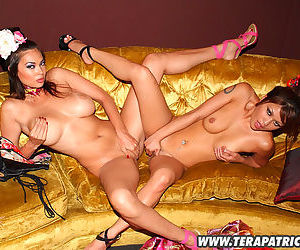 Asian lesbians on a lovely gold couch have fun eating wet pussy