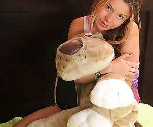 Sweaty remove clothes show for young girls favorite plush toys and countless hungry lovers