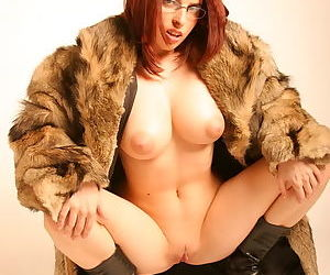 Young redhead slut exposing her neat shaved pussy