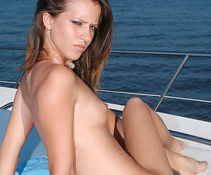 Dildo girl on a boat fucking her steamy pussy