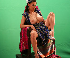 Big fake tits out as Tera Patrick takes a toy to her lovely pussy