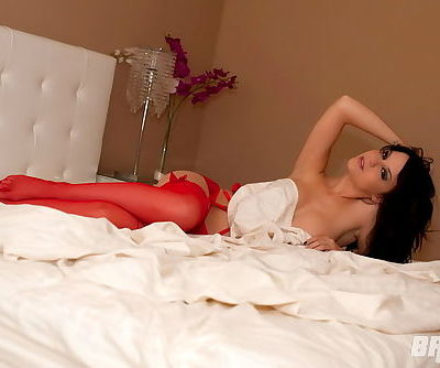 The red lingerie is hot and the sizzling stockings are the best part of it