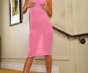 Sheer pink dress clings to the hot body of Asian model Kt So