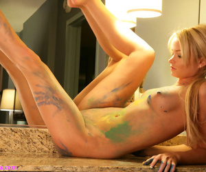 Wonderful amateur with impeccable body uses her bows instead of canvas