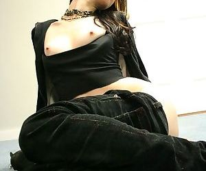 Dark jeans and modeling of her fabulous shaved pussy