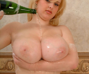 Teen model Ashley wets say no to grown store arrive d enter a occur some champagne there bath