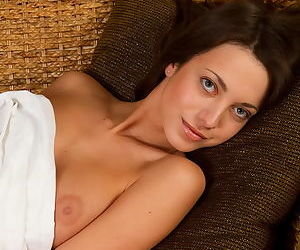 Slender girl with perfect tits touches them and rubs her sexy pussy