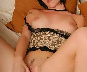 Blue dildo vibrating her young pussy and making her so hot