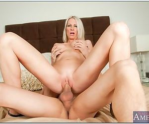 Milf touches her big tits and lets him fuck her sexy shaved pussy