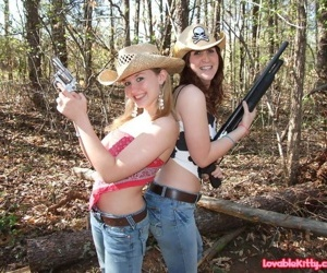 Three titillating teenage cowgirls bare their yummy boobies above suspicion