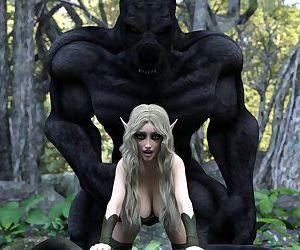 Fantasy Scene - Elf With Wolfman
