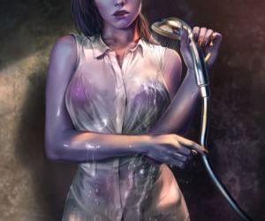 Widowmaker in the Shower by Firolian