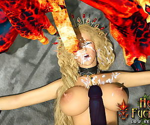 Leggy elf slave with big breasts mercilessly gang banged by ugly hell fuckers