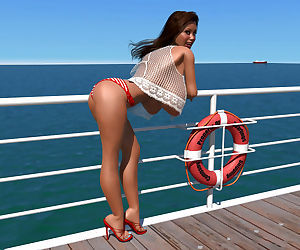 Big breasted 3d brunette shows her sexy body on the pier - part 11