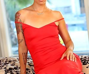 Asian-American solo model Dana Vespoli slips off her red dress for nude poses