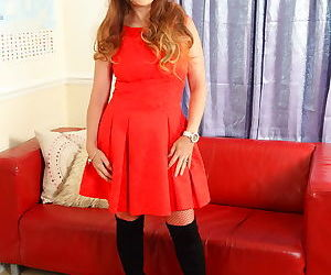 British mom gemma gold in red stockings playing with her toy - part 2897