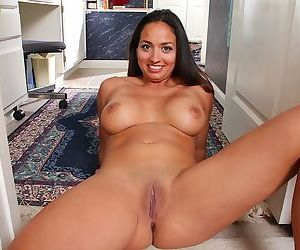 Busty abby melon spreads her shaved mature pussy - part 1680