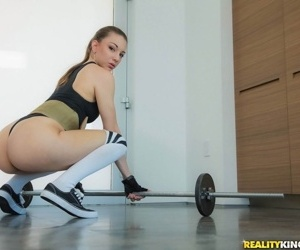 Latina fitness girl in socks with big round ass gets mouthful of dripping cum