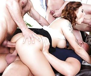 Tattooed Billie Star gets double penetration by big cocks in wild gangbang - part 2