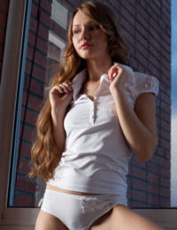 European teen Virginia Sun wearing heels and showing bare legs & twat
