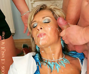 Lewd gal gets jizzed all over her face after clothed gangbang action - part 2