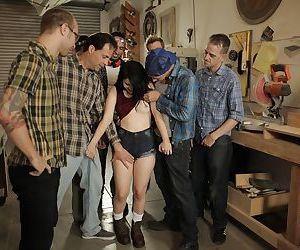 Petite raven-haired cutie Yhivi makes cocks cum hard in a blowgang